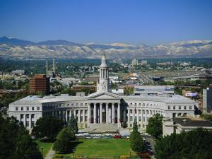The Civic Center and Rockies Beyond, Denver, Colorado, USA by Jean Brooks