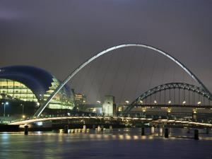 The Sage and the Tyne and Millennium Bridges at Night, Tyne and Wear, UK by Jean Brooks