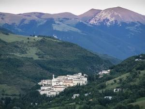 View at Sunset, Village of Preci, Valnerina, Umbria, Italy, Europe by Jean Brooks