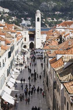 View Down Stradun, UNESCO World Heritage Site, Dubrovnik, Croatia, Europe by Jean Brooks