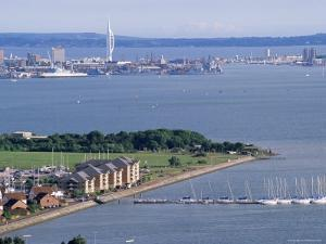 View from Portsdown Hill Towards City and Spinnaker Towr, Portsmouth, Hampshire, England by Jean Brooks
