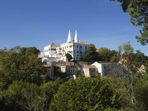 View of the National Palace with its conical towers, Sintra, near Lisbon, Portugal, Europe by Jean Brooks