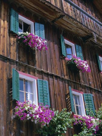 Wooden Chalet with Flowers, Hallstatt, Austria, Europe by Jean Brooks