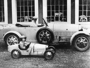 Jean Bugatti and Roland Bugatti Sons of Ettore Bugatti in Cars Made by their Father, C. 1928