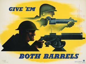 Give 'Em Both Barrels Poster by Jean Carlu
