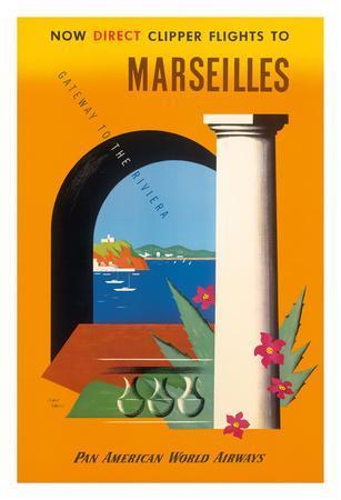 Marseilles, Direct Clipper Flights To Marseilles - Pan American World Airways (PAA)