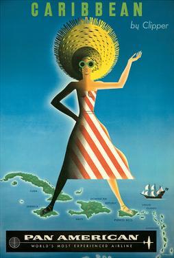 Pan American: Caribbean by Clipper, c.1958 by Jean Carlu