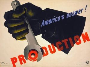 World War II Poster, 1941 by Jean Carlu