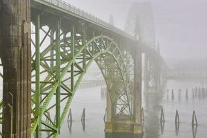 USA, Oregon. Yaquina Bay Bridge in Fog by Jean Carter