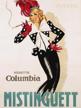 Vedette Columbia Mistinguett Poster by Jean Dominique Van Caulaert