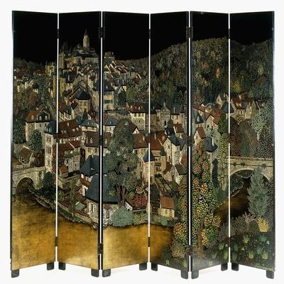 A Jean Dunand Six-Fold Lacquer Screen, Depicting a View of the Village Uzerches