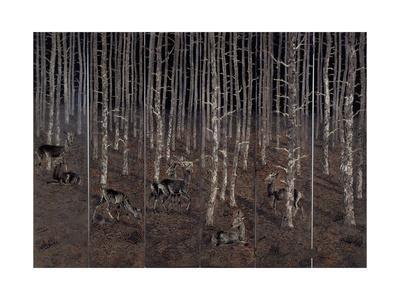 Birch Wood Screen with Six Doors