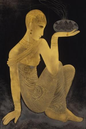 'Perfume'. A maiden scantily clad in an oriental style shawl, holding an incense burner. C. 1925