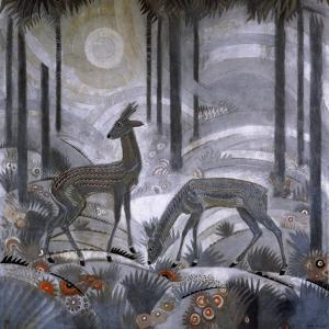 Two Deer in a Forest, C.1929 by Jean Dunand