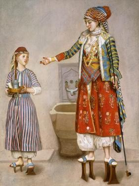 A Woman in Turkish Costume in a Hamam Instructing Her Servant by Jean-Etienne Liotard