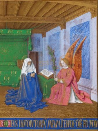 Annunciation of The Virgin Marys approaching death. Ms. fr.71, around 1445. by Jean Fouquet