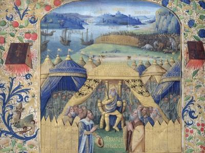 Julius Caesar (100-44 BC) Receiving the Germanic Ambassador, C.1450 (Vellum) by Jean Fouquet