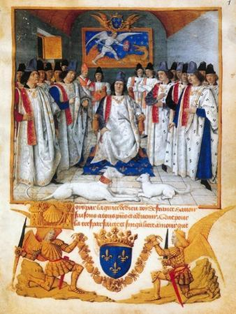King Louis XI presides a chapter meeting of the Order of Saint Michel.Beneath the image. by Jean Fouquet
