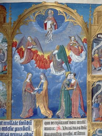 Ms 412 the Trinity Surrounded by Three Angels and Below Them Personifications of Mercy and Truth by Jean Fouquet