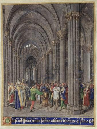 St. Veran Exorcising the Possessed in the North Aisle of the Cathedral of Notre-Dame De Paris by Jean Fouquet