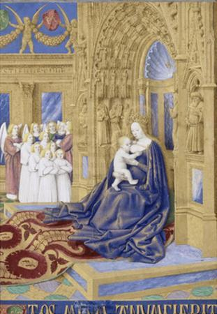 The Virgin and Child Enthroned (Hours of Étienne Chevalie) by Jean Fouquet