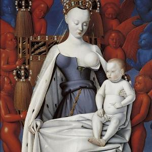 Virgin and Child Surrounded by Angels. Right Wing of Melun Diptych, C. 1450 by Jean Fouquet