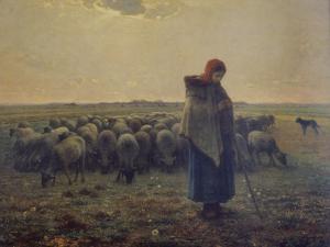 Shepherdess with Her Flock (La Grande Bergere), 1863 by Jean-Fran?ois Millet