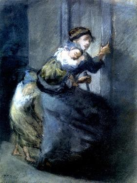 A Mother Fleeing with Two Children by Jean-François Millet