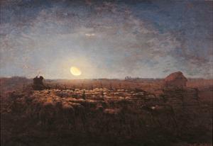 Sheep Meadow, Moonlight by Jean-François Millet