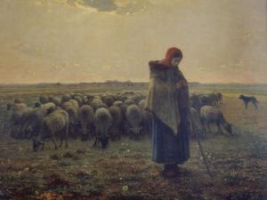 Shepherdess with Her Flock (La Grande Bergere), 1863 by Jean-François Millet