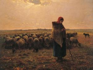 Shepherdess with Her Flock by Jean-François Millet