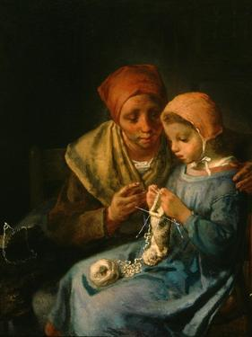 The Knitting Lesson, 1869 by Jean-Francois Millet