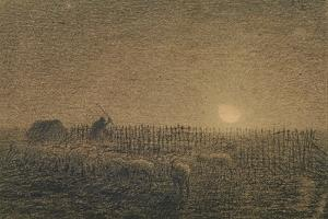 The Shepherd at the Fold by Moonlight by Jean-François Millet