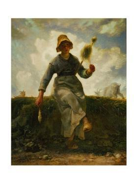The spinning girl. Oil on canvas. by Jean-François Millet