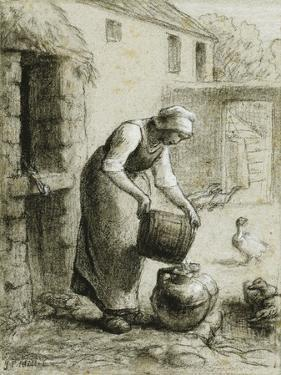 Woman Pouring Water into Milk Cans by Jean-François Millet