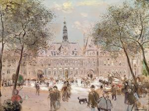 Place De L'Hotel-De-Ville, Paris by Jean Francois Raffaelli