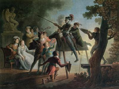 Don Quixote and Sancho Panza on a Wooden Horse