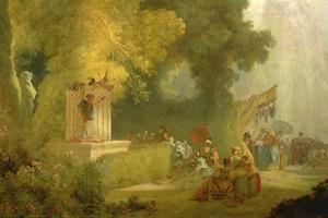 The Fete at Saint-Cloud, Detail of the Puppet Show (Detail) by Jean-Honor? Fragonard