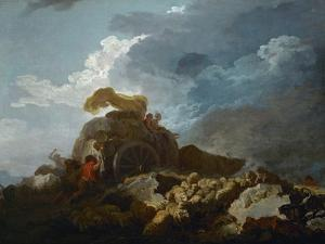 Thunderstorm, or the Cart Stuck in the Mud, 1759? by Jean-Honor? Fragonard