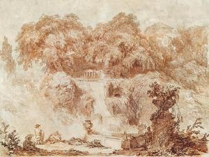 Gardens of the Villa D'Este, from the Foot of the Waterfall (Red Chalk on Paper) by Jean-Honore Fragonard