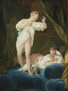 Two Girls on a Bed Playing with their Dogs by Jean-Honoré Fragonard