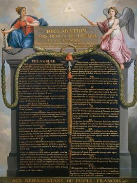 The Declaration of the Rights of Man and Citizen, August 1789 by Jean Jacques Francois Le Barbier