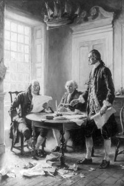 Benjamin Franklin Reading Draft of Declaration of Independence by Jean Leon Gerome Ferris