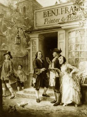 Franklin's Bookshop, 1745 by Jean Leon Gerome Ferris