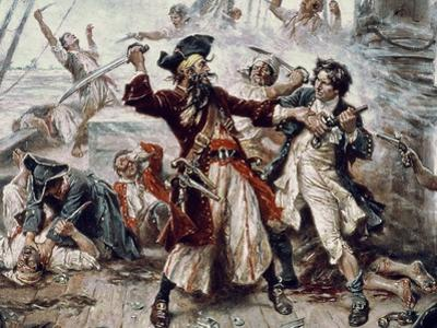 The Capture of the Pirate Blackbeard, 1718 (Detail)