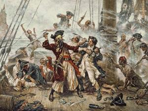 The Capture of the Pirate Blackbeard, 1718 by Jean Leon Gerome Ferris