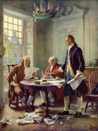 Writing the Declaration of Independence, 1776 by Jean Leon Gerome Ferris