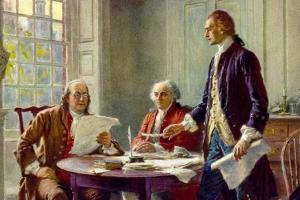 Writing the Declaration of Independence in 1776 by Jean Leon Gerome Ferris