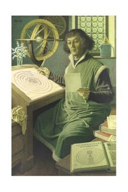 An Illustration of Copernicus at Work in His Study by Jean-Leon Huens