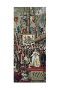 Queen Elizabeth Knights Sir Francis Drake on Deck of Golden Hind by Jean-Leon Huens